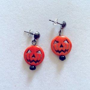 Jack O'Lantern Earrings on Gunmetal Ear Studs